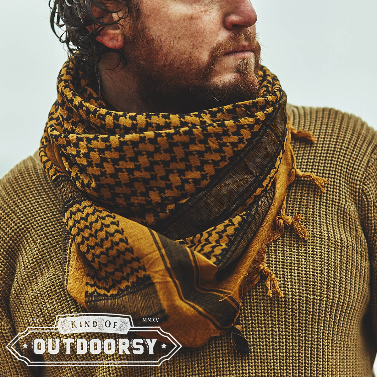 Heavyweight Shemagh Scarf in Coyote Brown and Black - Kind of Outdoorsy bbdca16e821